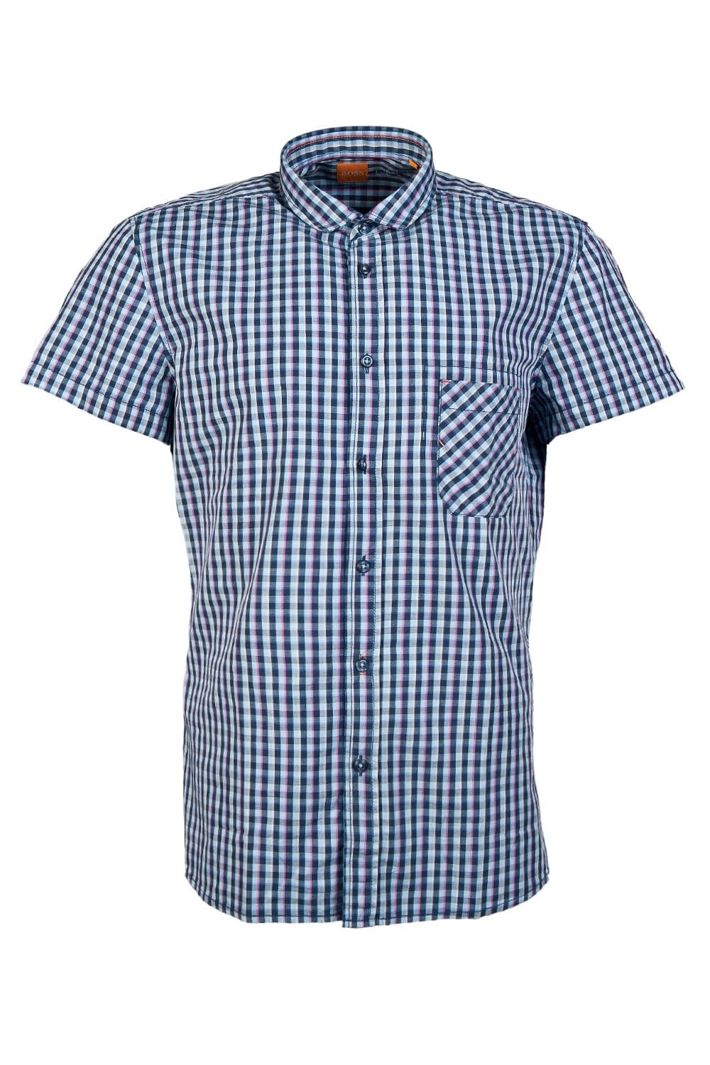 Hugo boss orange casual checked shirt in blue and lilac for Hugo boss dress shirts