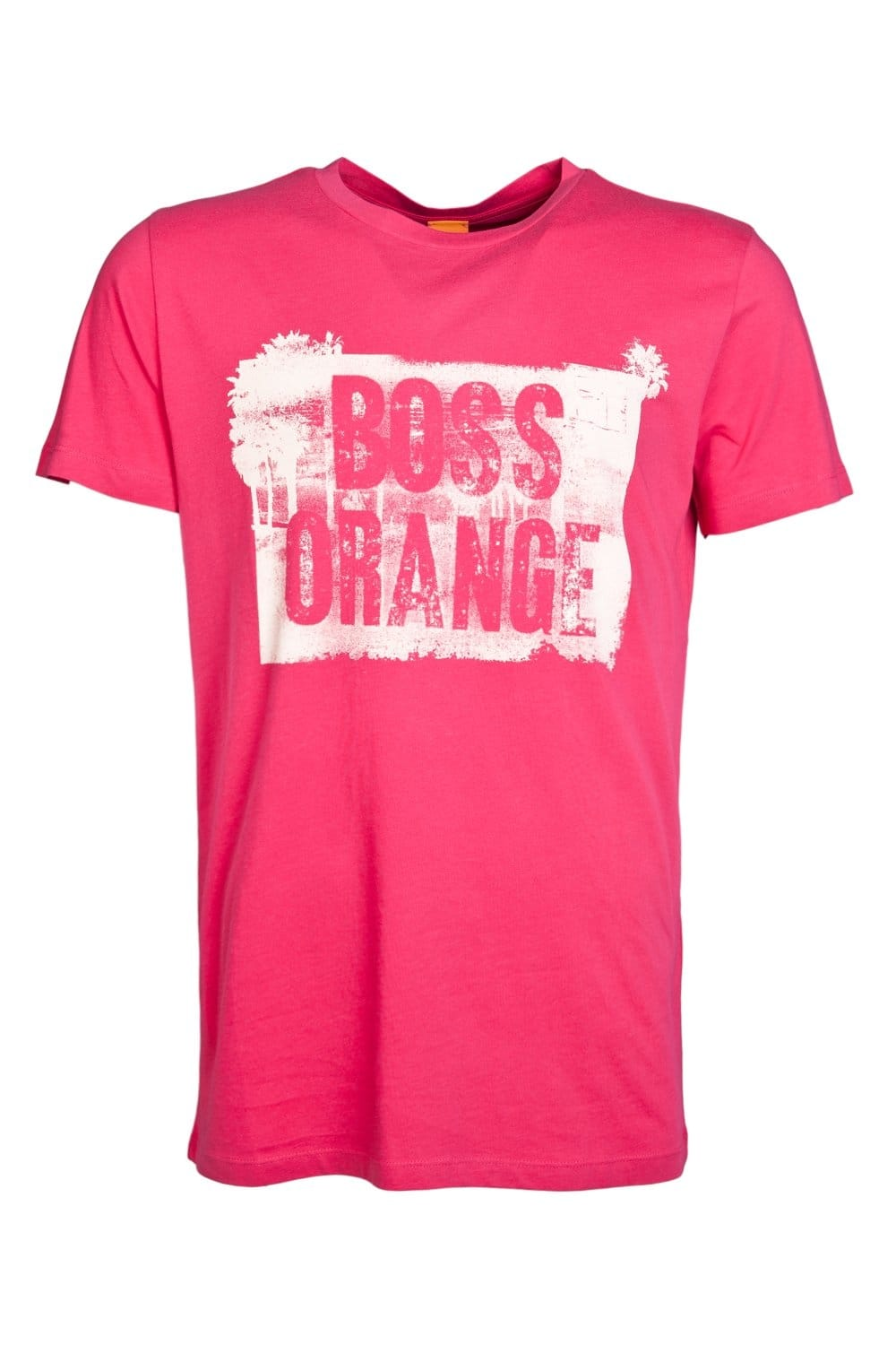 buy good On Clearance uk cheap sale HUGO BOSS ORANGE Round Neck T-shirt in White and Pink TEMYO 1 50283637