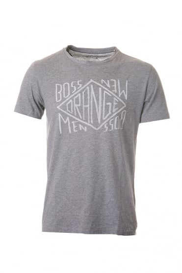 HUGO BOSS ORANGE Short Sleeved T-shirt in Grey  Black  Blue and White TAKEOUT 2 50240672