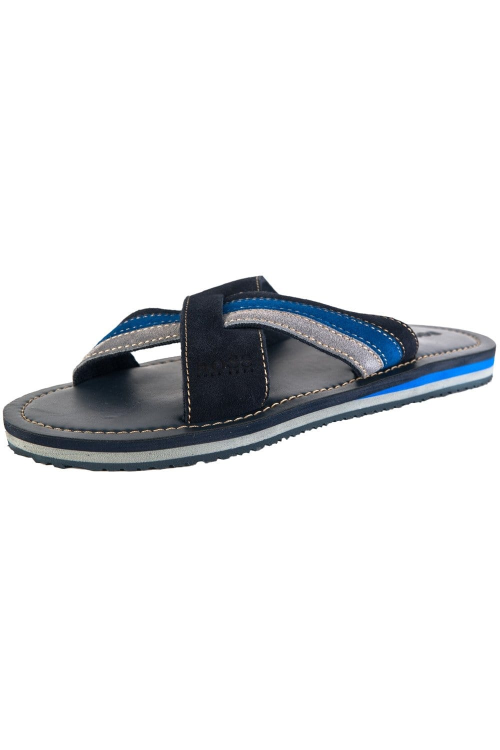 1adb2e986012f BOSS GREEN HUGO BOSS ORANGE Suede Cross-over Flip-flops in Navy Blue SIETTO  50260593