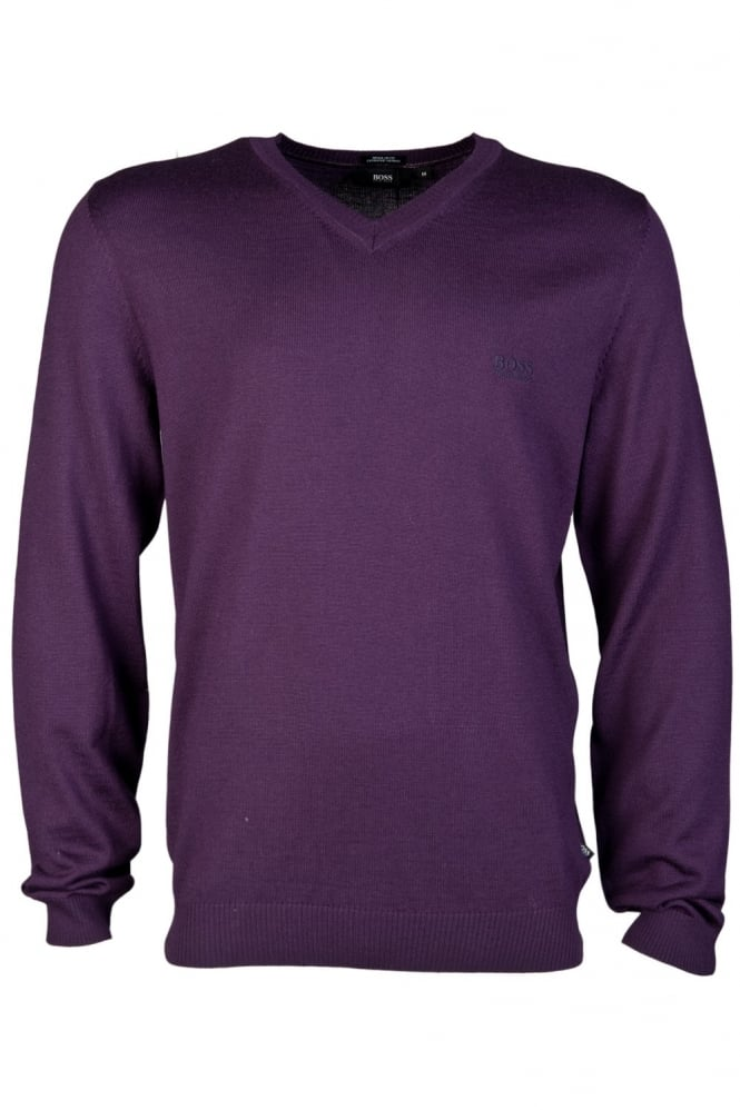 HUGO BOSS V-neck Knitwear in Black  Purple  Grey and Blue BATISSE-D 50273851