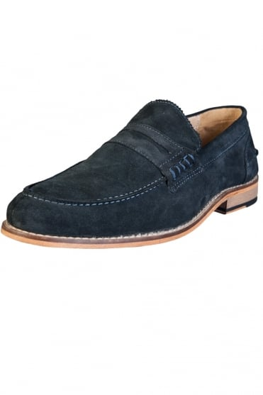 John White Suede Shoes NELSON-NAVY