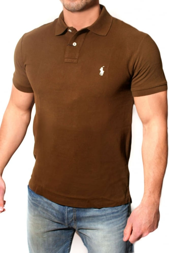 Men 39 s ralph lauren slim fit polo t shirt in brown for Mens slim polo shirts