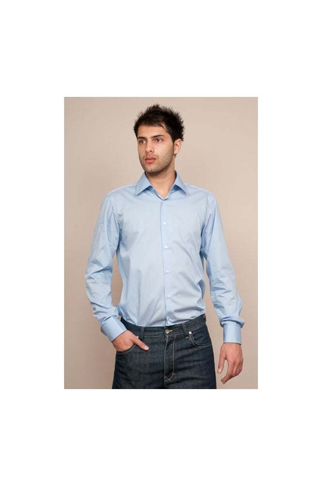 358204d2b BOSS Mens Hugo Black Regular Fit Double Cuff Shirt in Blue LAWRENCE  50121399-433