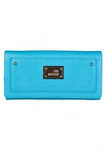 Moschino Ladies Faux Leather Wallet in Blue JC5537PP0K-701