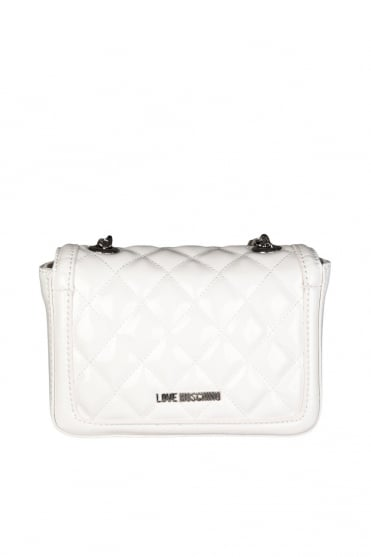 Moschino Ladies Quilted Faux Leather Shoulder Bag in White JC4225PP0K-100