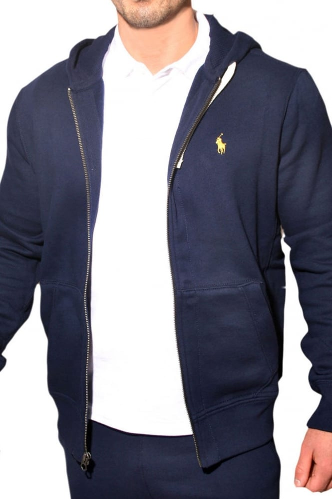 polo ralph lauren full zipped hooded sweatshirt in navy blue a14 khz75b1584 a4100 polo ralph. Black Bedroom Furniture Sets. Home Design Ideas