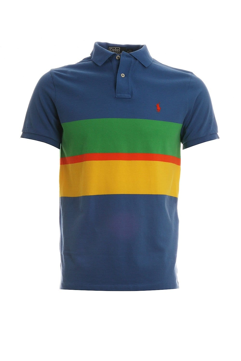 Polo ralph lauren striped design polo t shirt in blue for Polo t shirt design images