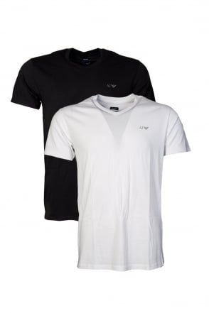 Armani AJ Two Pack Regular V-neck T-shirts in White  Grey and Navy Blue  06802RM