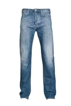 Armani Jeans J21 Designer Regular Fit Denim Jeans in Stonewash Blue A6J91 7B
