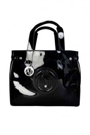 Armani Jeans Ladies Patent Leather Look Shopping Bag in Black 0524655