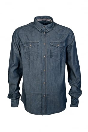 Armani Jeans Regular Fit Denim Shirt in Indigo Blue B6C19NF
