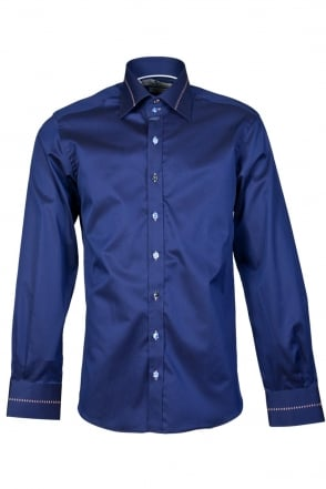 Claudio Lugli Smart Shirt in White and Navy Blue CP5860