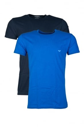 Emporio Armani 2 Pack Underwear T-shirt in Navy Blue/Royal Blue and Black/Green 1112674A712