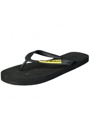 Emporio Armani Designer Flip-Flops in Black  White and Navy Blue 2113015P484