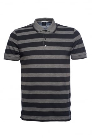 HUGO BOSS BLACK Regular Fit Stripe Polo T-shirt in Blue, Red and Black FIRENZE 21 50246992