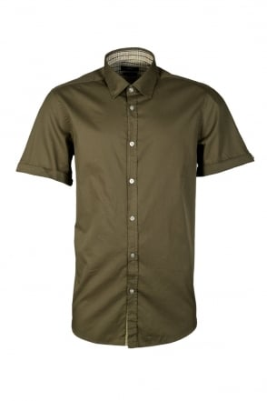 HUGO BOSS BLACK Shirt in White  Navy Blue and Khaki Green LUCA 50259306