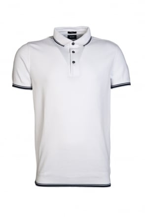 HUGO BOSS BLACK Slim Fit Polo Shirt in White and Red PADRIA 15 50286213