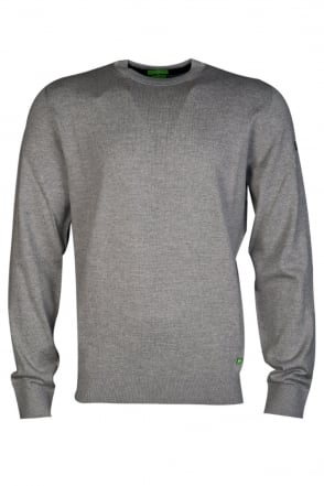 HUGO BOSS GREEN Crew Neck Knitwear in Grey and Navy Blue RANDO 50274133