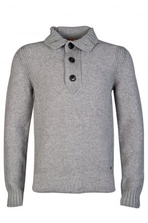 HUGO BOSS ORANGE 1/4 Buttoned Knitwear in Black, Grey and Blue AMARE 50275414