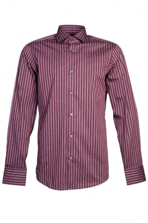 HUGO BOSS Stretch Regular Fit Stripe Shirt in Navy Blue and Burgundy Red GORDON 50251243