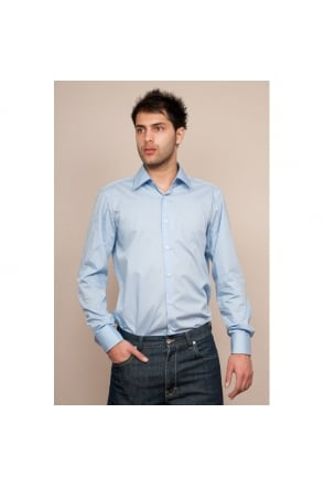 Mens Hugo Boss Black Regular Fit Double Cuff Shirt in Blue LAWRENCE 50121399-433