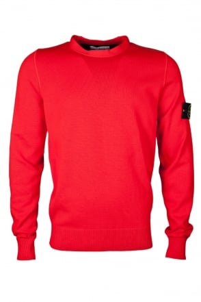 Stone Island Classic Round Neck Jumper in Black and Orange 6215537B2