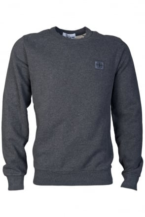Stone Island Round Neck Sweat Top in Grey and Black 611562350