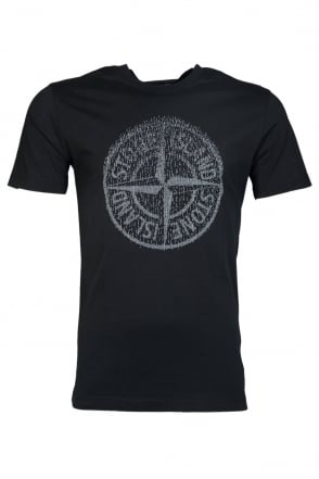 Stone Island Round Neck T-Shirt in White  Black  Navy Blue and Red 631520081
