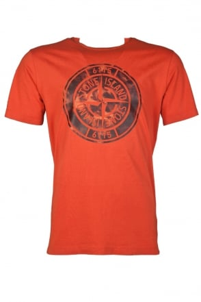 Stone Island Round Neck T-shirt in White  Navy Blue  Black and Orange 611520081