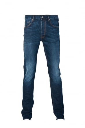 Stone Island Slim Fit Denim Jeans in Indigo Blue 6115J1BGA