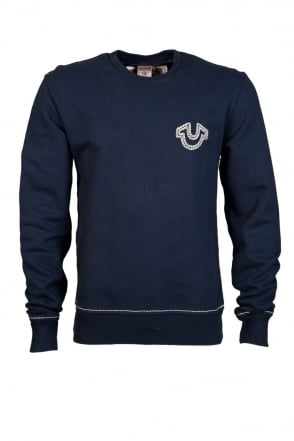 True Religion Crew Sweatshirt Jumper in Navy Blue M177K58E72-4137