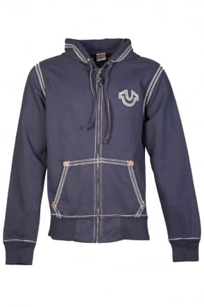True Religion Zip Up Hoodie in Navy Blue 1240000012-4101