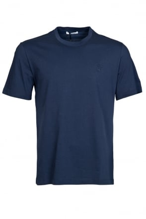 Versace Plain Regular Fit T-Shirt in Navy Blue V800487VJ00154-1382