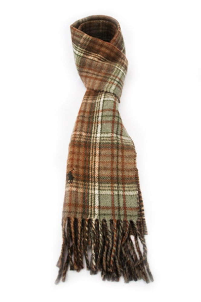 ralph reversible scarf in green checkered and brown