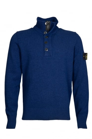 Stone Island 1/4 Zip and Button Neck Knitwear in Blue and Black 6315508A3