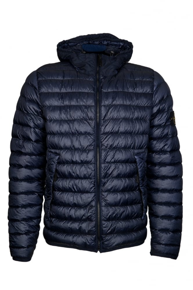 Stone Island Hooded Puffer Jacket In Navy Blue And Red