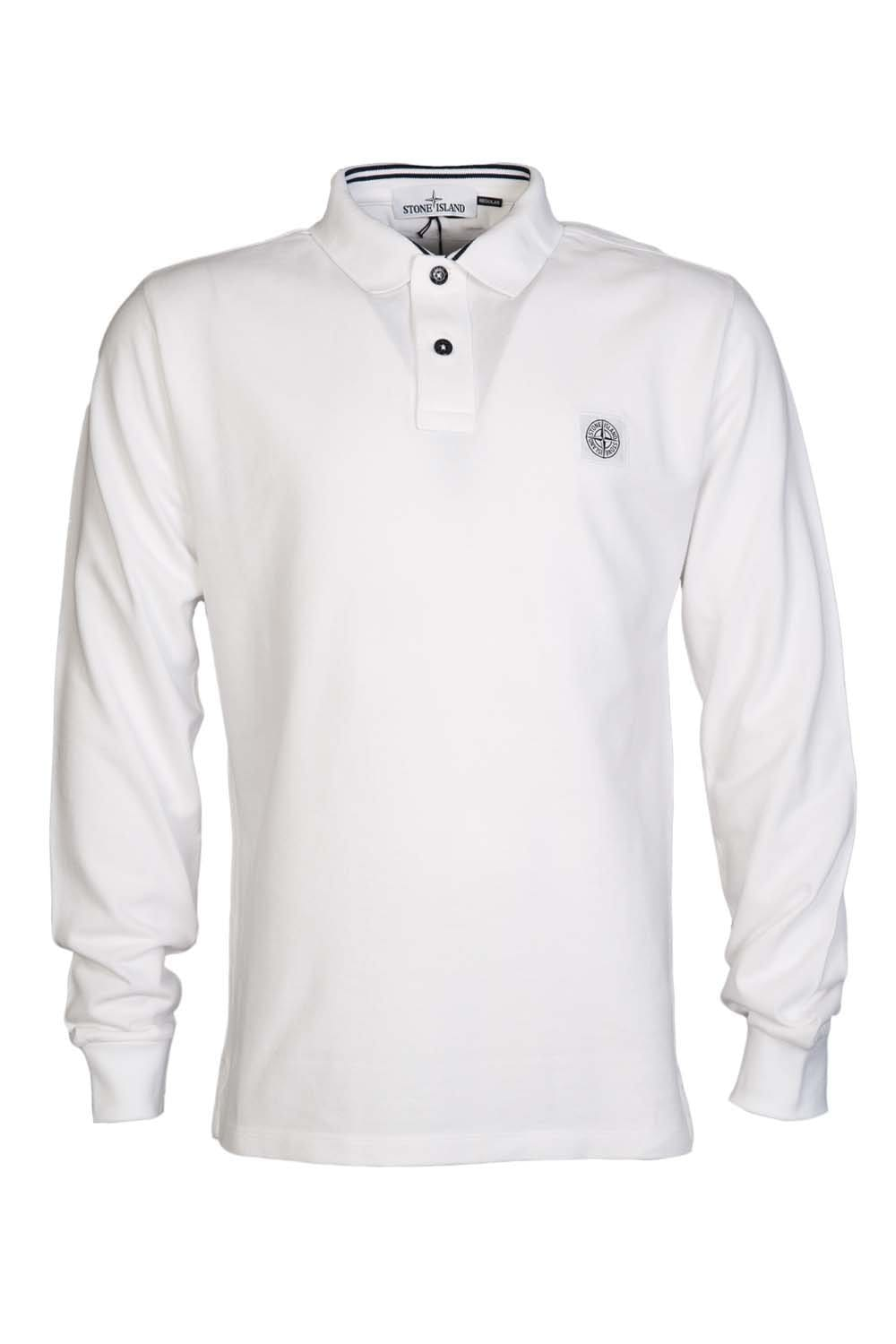 Stone Island Long Sleeve Polo Shirt In Black White And