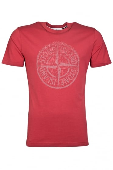 Stone Island Round Neck T-Shirt in White, Black, Navy Blue and Red 631520081