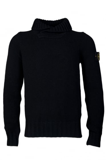 Stone Island Shall Neck Knitwear in Black 6115586A2
