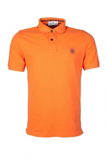 Stone Island Slim Fit Polo Shirt in Orange, Black, White and Blue 621522S15