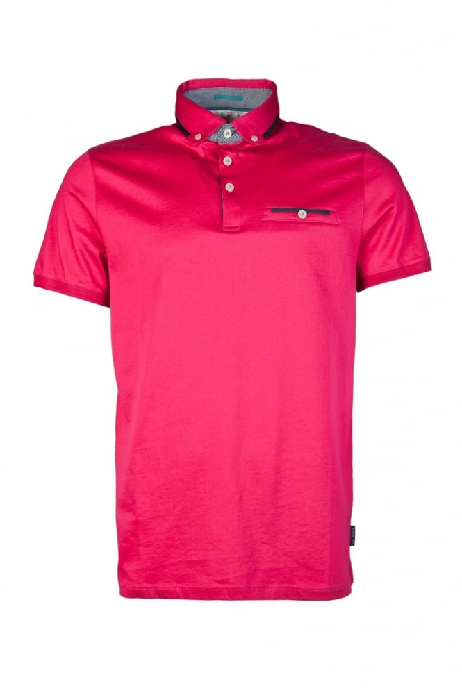 Ted Baker Button-Down Polo Shirt in Pink TS5M/GB33/BANNYAN-54