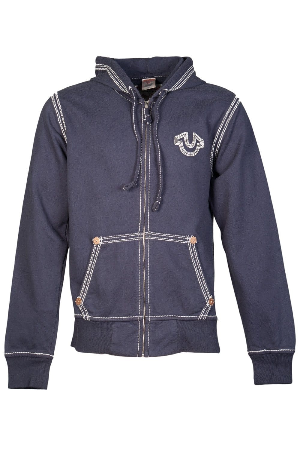 True Religion Zip Up Hoodie in Navy Blue 1240000012-4101 - True Religion from Sage Clothing UK
