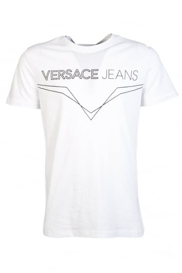 Versace Jeans Printed T-Shirt in White B3GLA79436098-003