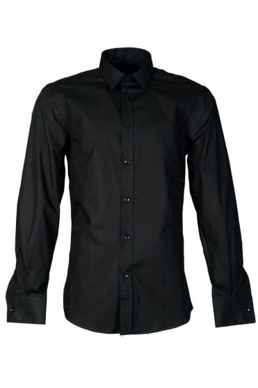 Versace Slim Fit Logo Printed Shirt in Black V300013VE4008 V000
