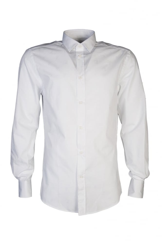 Slim Fit Logo Printed Shirt in White V300013VE4008-V110