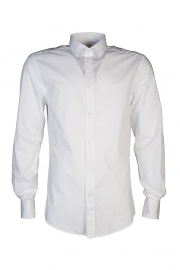 Versace Slim Fit Logo Printed Shirt in White V300013VE4008-V110