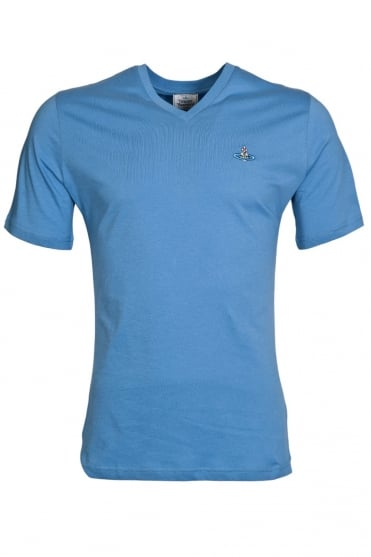 Vivienne Westwood Classic V-neck Tee in Blue S25GC0270S22492-468